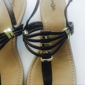 East 5th Shoes - East 5th Leather Brown & Gold Wedge Sandals Sz 11